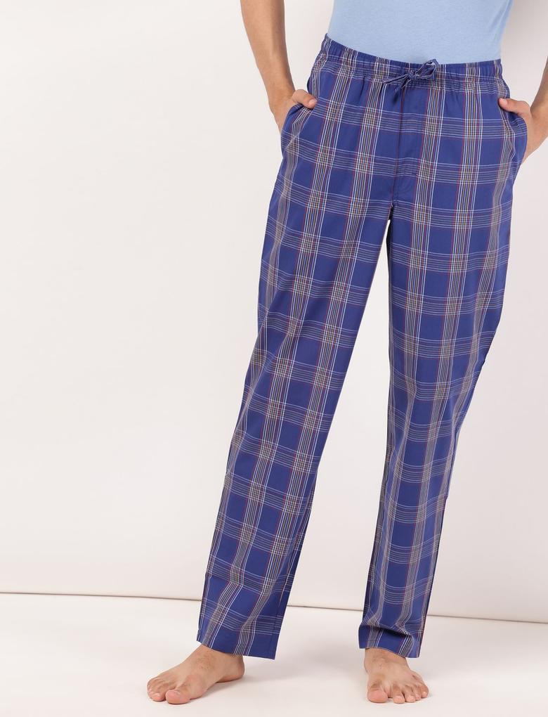 Erkek Mavi Ekose Pijama Takımı