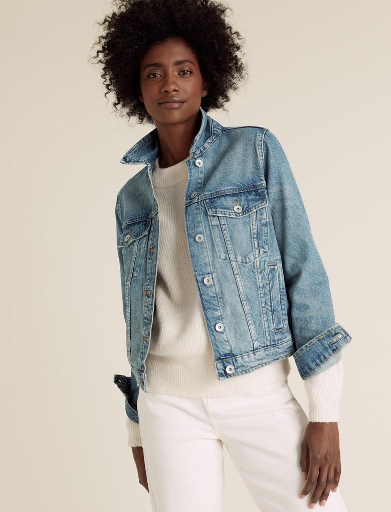Kadın Lacivert Saf Pamuklu Denim Ceket