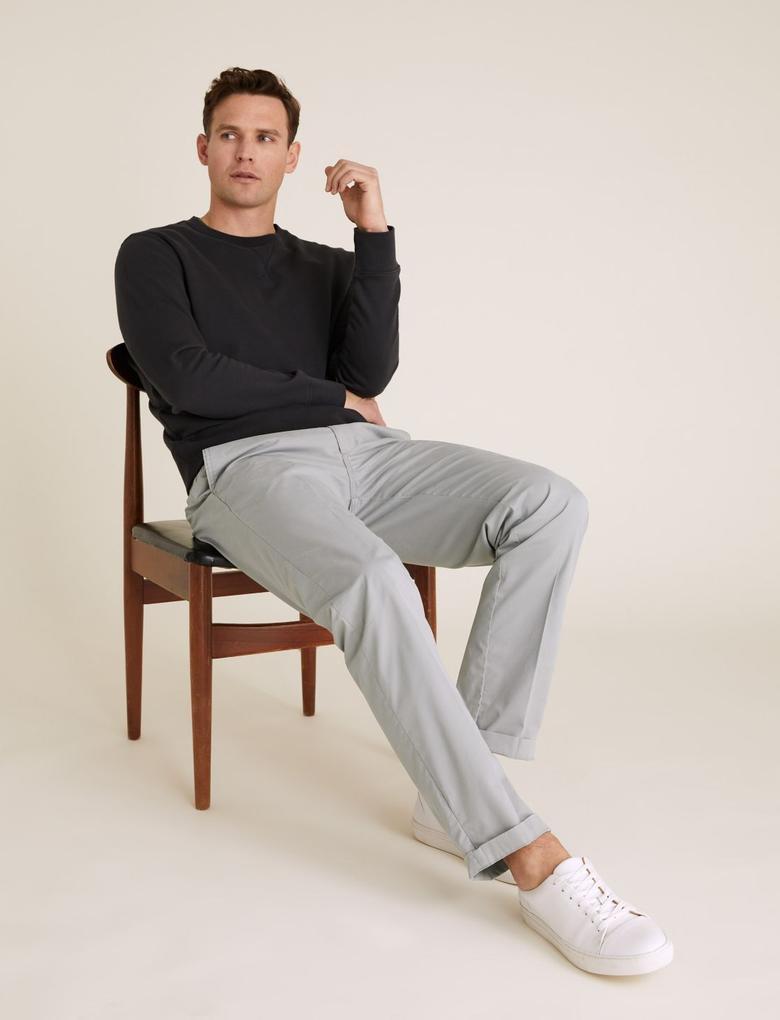 Erkek Gri Active Waist™ Pamuklu Chino Pantolon