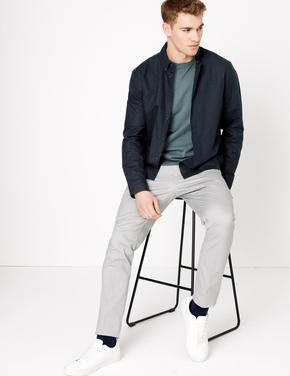 Erkek Lacivert Keten Karışımlı Kolay Ütülenebilir Gömlek