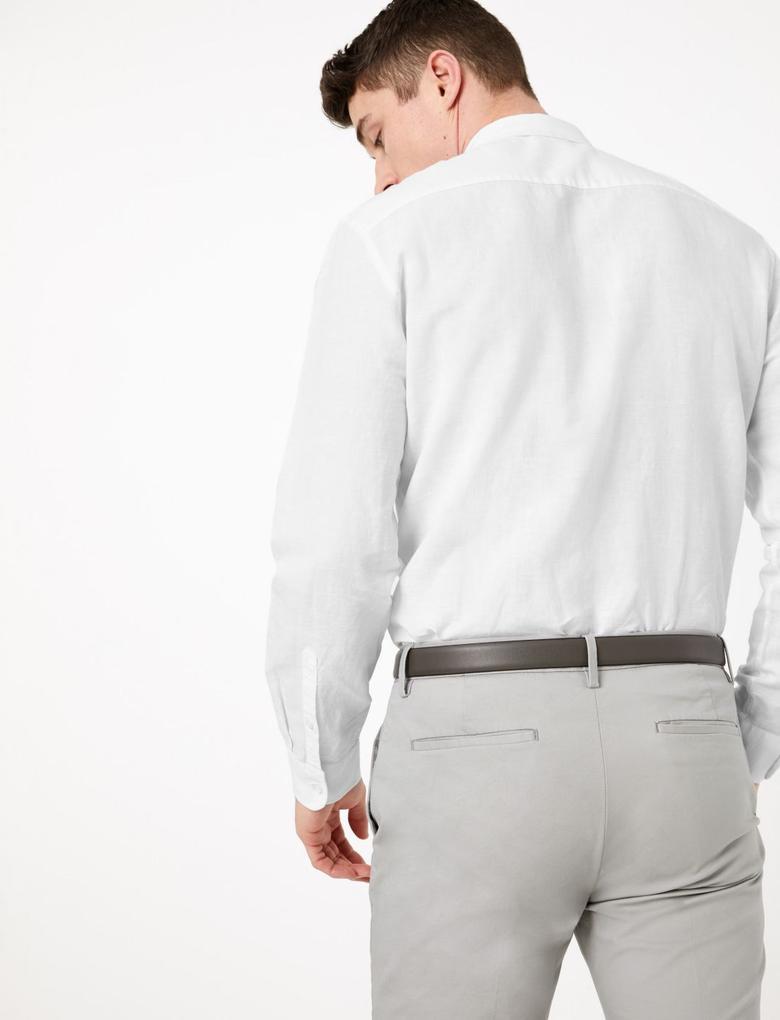 Erkek Beyaz Keten Karışımlı Kolay Ütülenebilir Gömlek