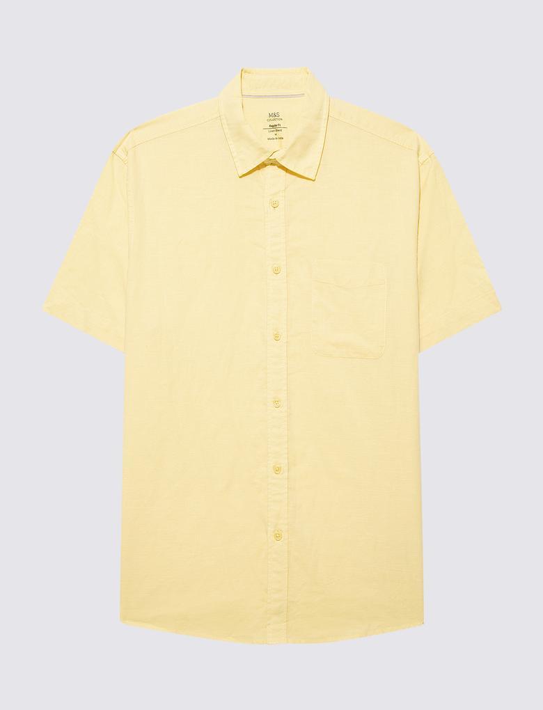 Erkek Sarı Keten Karışımlı Kısa Kollu Gömlek
