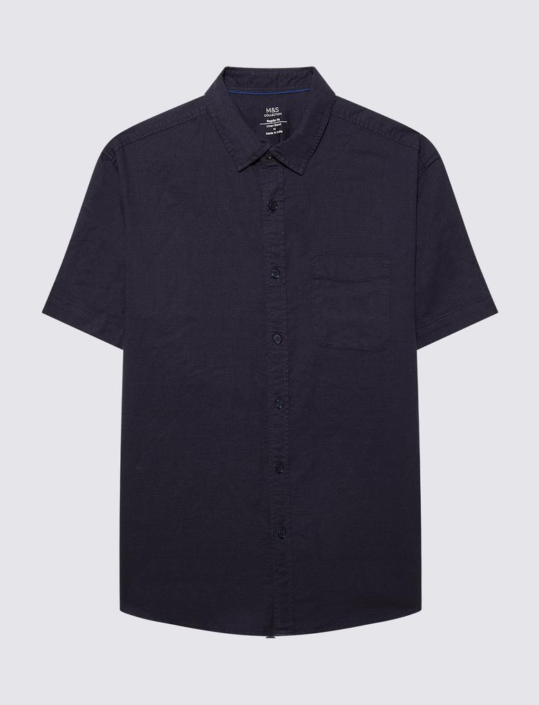 Erkek Lacivert Keten Karışımlı Kısa Kollu Gömlek