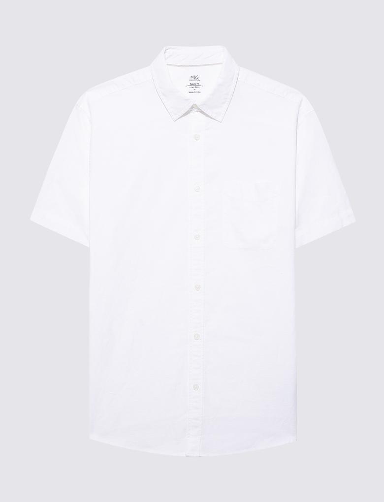 Erkek Beyaz Keten Karışımlı Kısa Kollu Gömlek