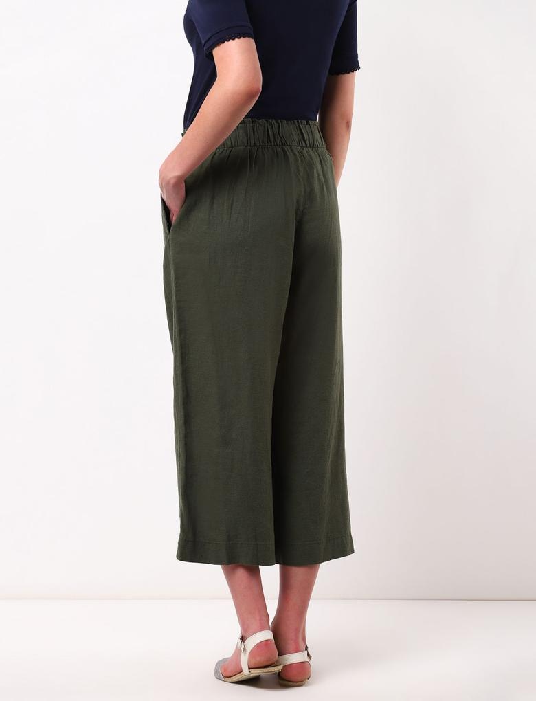 Kadın Yeşil Wide Leg Crop Pantolon