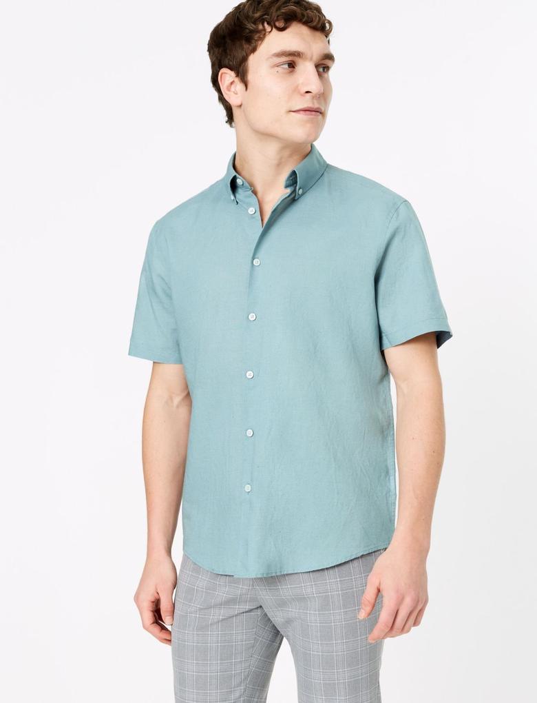 Erkek Mavi Kolay Ütülenebilir Keten Karışımlı Gömlek
