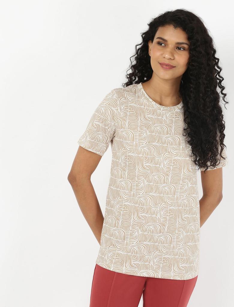 Kadın Bej Desenli Kısa Kollu T-Shirt