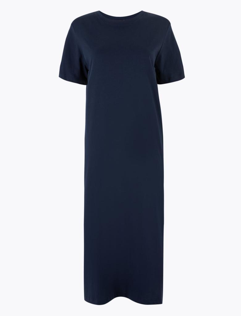 Kadın Lacivert Saf Pamuklu Midi Elbise