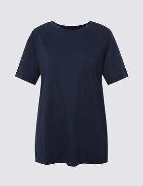 Kadın Lacivert Kısa Kollu Straight Fit T-Shirt
