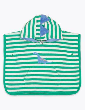 Bebek Yeşil Kapüşonlu Dinozor Desenli Havlu