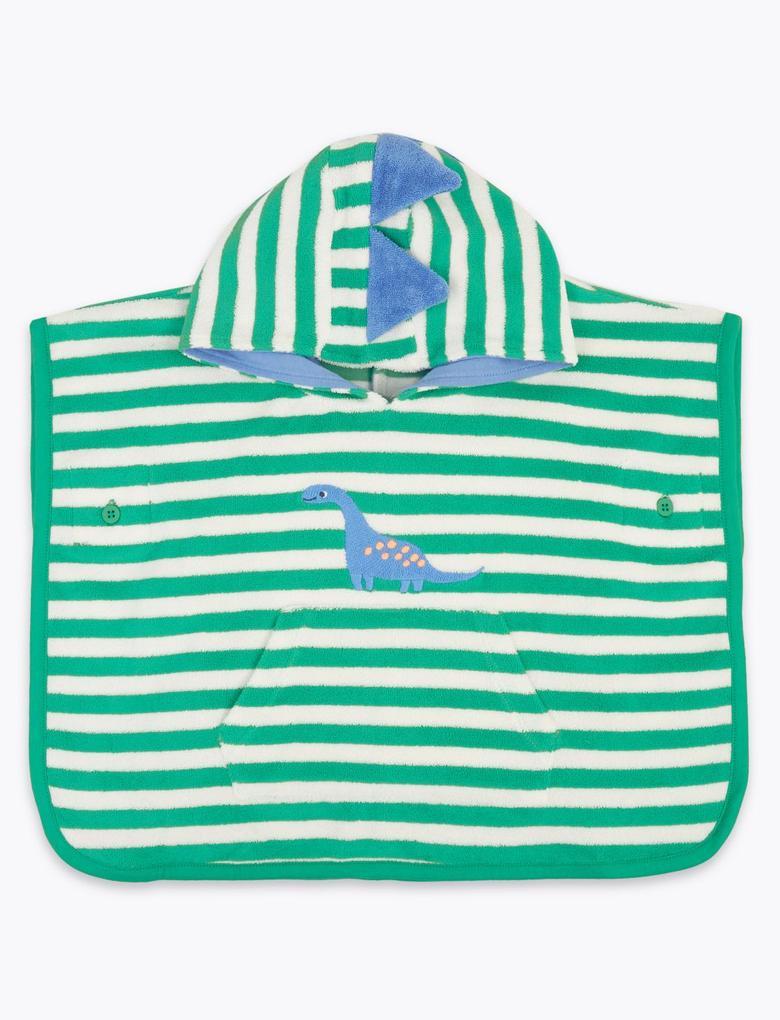 Bebek Yeşil Kapüşonlu Dinozor Desenli Panço Havlu