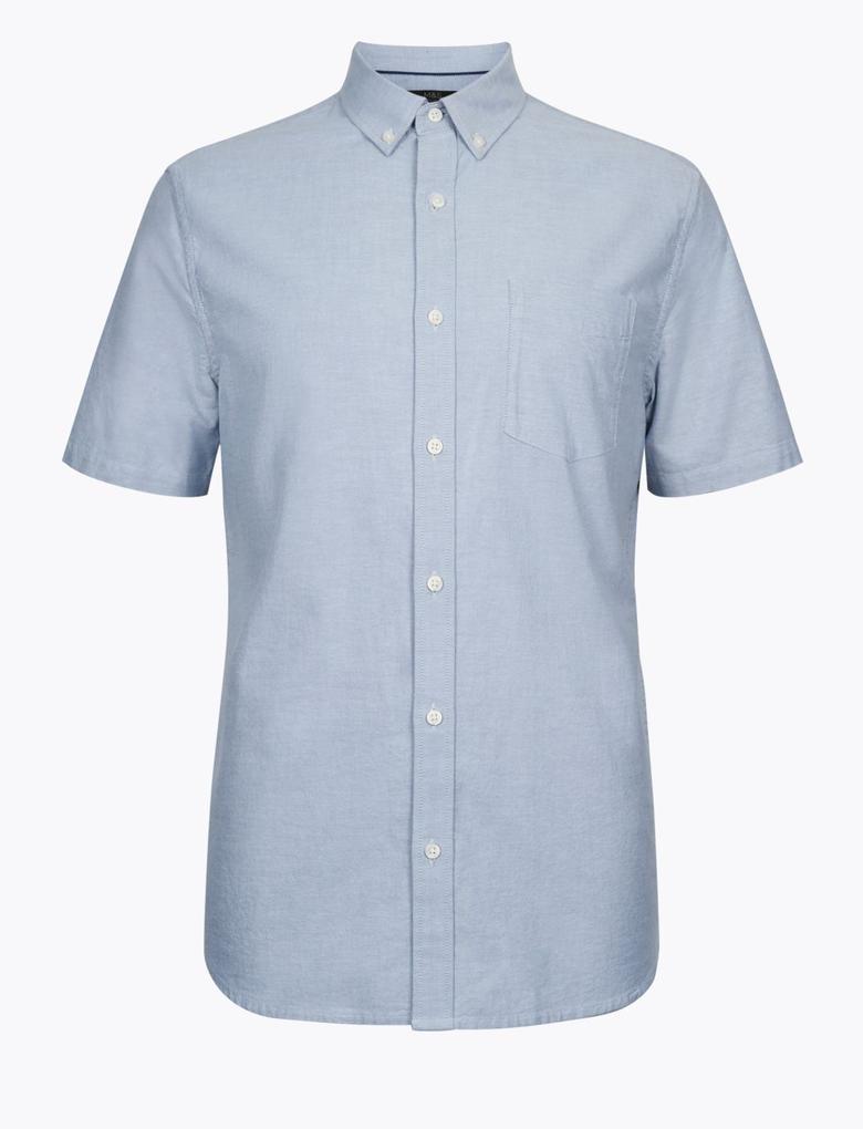 Erkek Gri Saf Pamuklu Oxford Gömlek