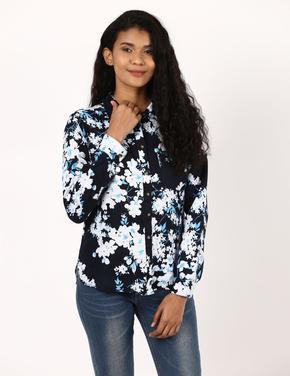 Kadın Lacivert Desenli Uzun Kollu Gömlek