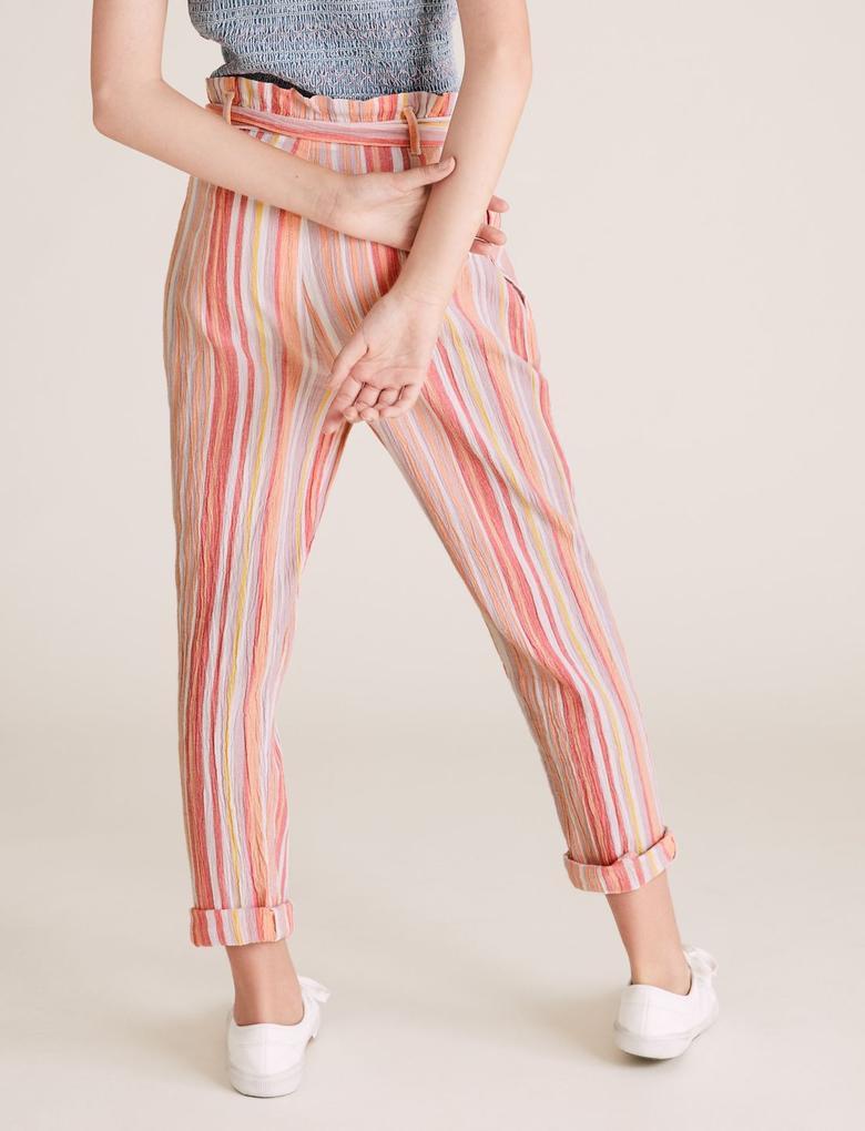 Kız Çocuk Pembe Saf Pamuklu Çizgili Pantolon
