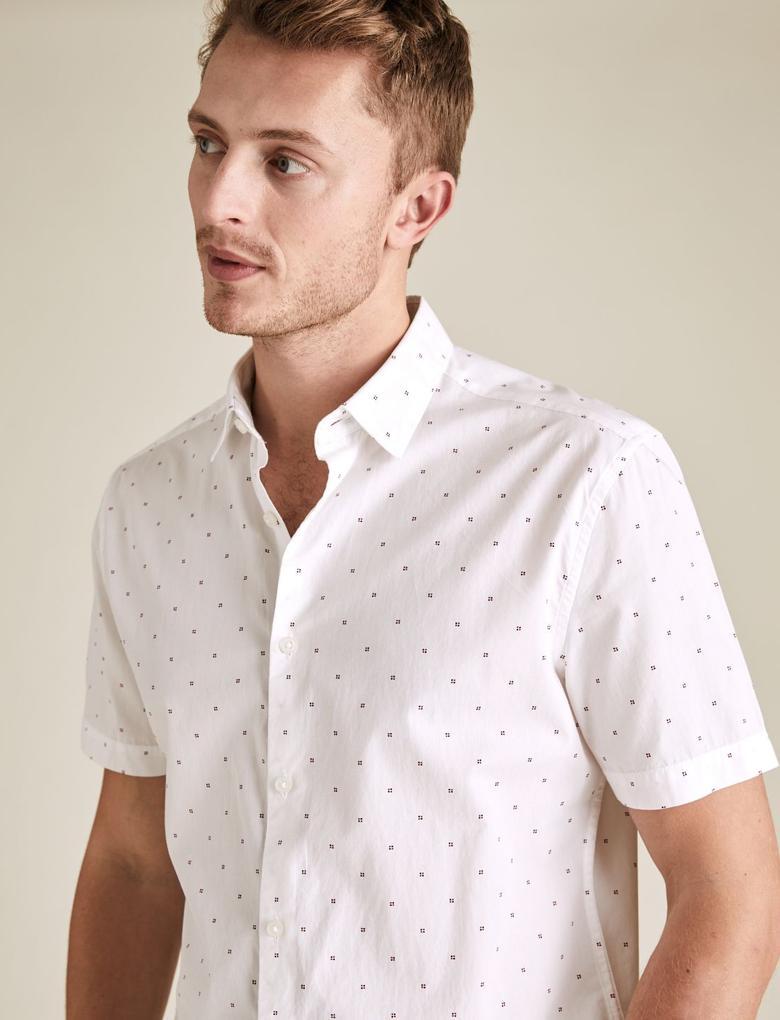 Erkek Beyaz Geometrik Desenli Kısa Kollu Gömlek
