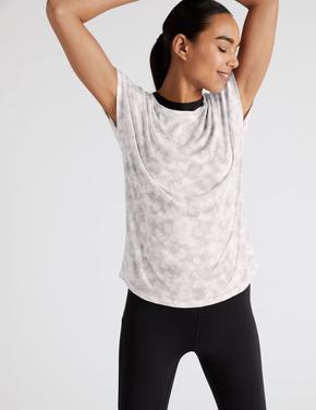 Kadın Gri Kısa Kollu Desenli T-Shirt