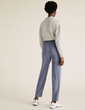 Kadın Mavi Tapered Ankle Grazer Pantolon
