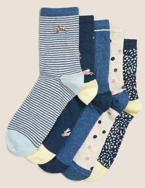 Kadın Mavi 5'li Desenli Çorap Seti