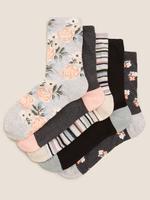 Kadın Gri 5'li Çiçek Desenli Çorap Seti