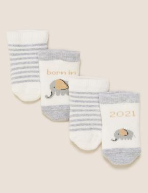 Çocuk Krem 2'li Çizgili Bebek Çorap (0-12 Ay)