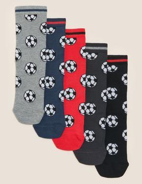 Çocuk Multi Renk 5'li Futbol Desenli Çorap Seti