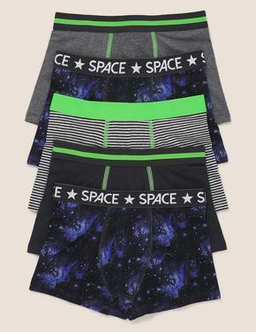 Çocuk Siyah 5'li Uzay Desenli Trunk Seti