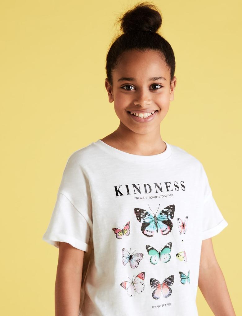 Kız Çocuk Beyaz Kelebek Desenli Kısa Kollu T-Shirt