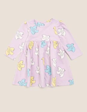 Bebek Mor Kuş Desenli Elbise