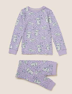 Çocuk Mor Koala Desenli Pijama Takımı