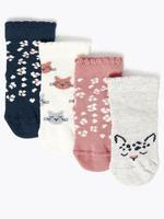 Çocuk Multi Renk 4'lü Kedi Desenli Çorap Seti