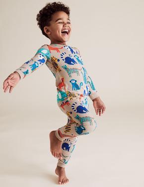 Çocuk Kahverengi Desenli Pijama Takımı