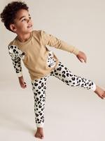 Çocuk Bej Leopar Desenli Pijama Takımı