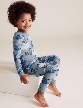 Çocuk Mavi Uçak Desenli Pijama Takımı