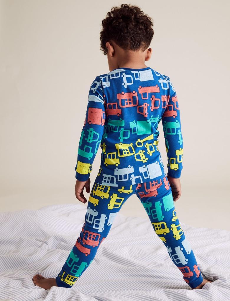 Çocuk Mavi Araba Desenli Pijama Takımı