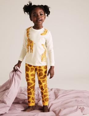 Çocuk Sarı Zürafa Desenli Pijama Takımı