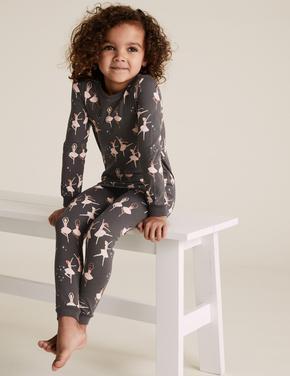 Çocuk Multi Renk Balerin Desenli Pijama Takımı