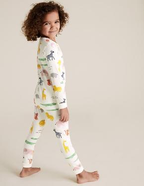 Çocuk Beyaz Desenli Pijama Takımı