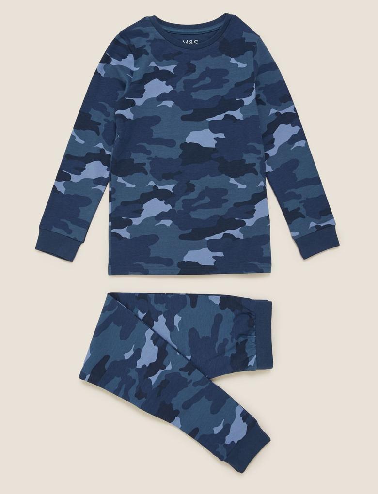 Çocuk Mavi Kamuflaj Desenli Pijama Takımı