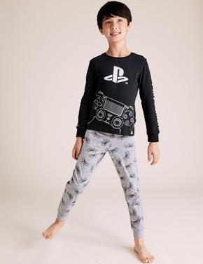 Çocuk Siyah PlayStation™ Grafik Pijama Takımı