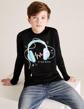 Erkek Çocuk Siyah Değişen Pullu Grafik T-Shirt