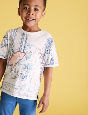 Erkek Çocuk Beyaz Dinozor İşlemeli T-Shirt