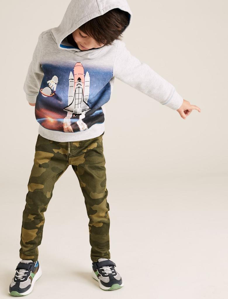 Erkek Çocuk Yeşil Kamuflaj Desenli Pull-On Jean Pantolon