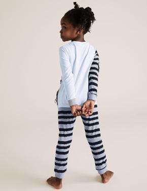 Çocuk Mavi Zebra Desenli Pijama Takımı
