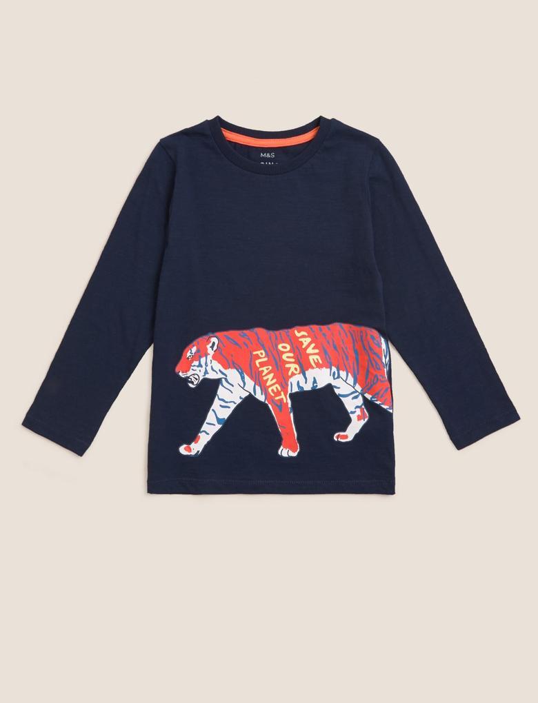 Erkek Çocuk Lacivert Uzun Kollu Desenli Bluz