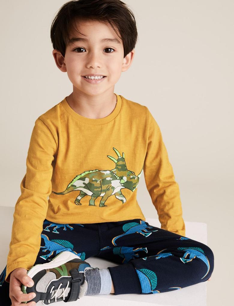 Erkek Çocuk Sarı Dinozor Desenli Bluz