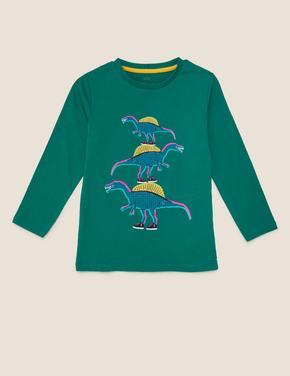 Erkek Çocuk Mavi Dinozor Desenli Bluz