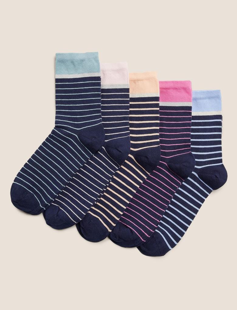 Kadın Lacivert 5'li Çizgili Çorap Seti