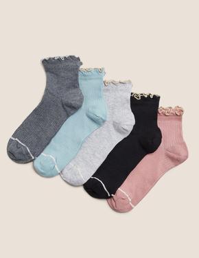 Kadın Pembe 5'li Fırfırlı Çorap Seti