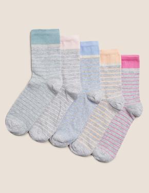 Kadın Gri 5'li Çizgili Çorap Seti