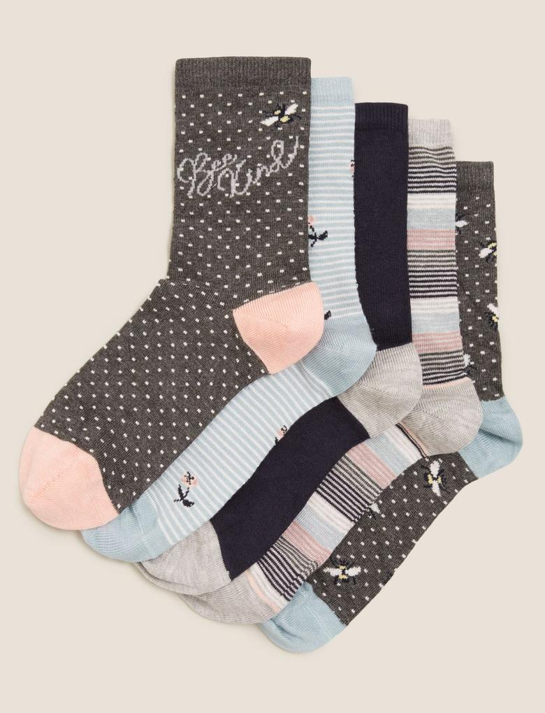 Kadın Gri 5'li Sumptuously Soft™ Çorap Seti